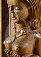 Detail of the wooden sculpture from indo portuguese countre NAGINIS
